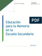 Educación Para La Memoria en La Escuela Secundaria