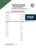 Lista de álgebra ensino fundamental