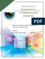Presupuesto y Cronograma Para Proyectos