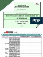 Identificación de Las Necesidades de Aprendizaje Segundo Grado Comunicación