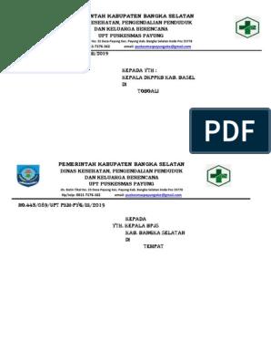 Pemerintah Kabupaten Bangka Selatan Dinas Kesehatan Pengendalian Penduduk Dan Keluarga Berencana Upt Puskesmas Payung
