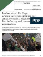 Arabela Carreras Se Impuso Por Amplia Ventaja Al Kirchnerista Martín Soria y Será La Nueva Gobernadora - 07-04-2019 - Clarín.com