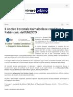 Il Codice forestale Camaldolese patrimonio Unesco - Vivereurbino.it, 5 aprile 2019