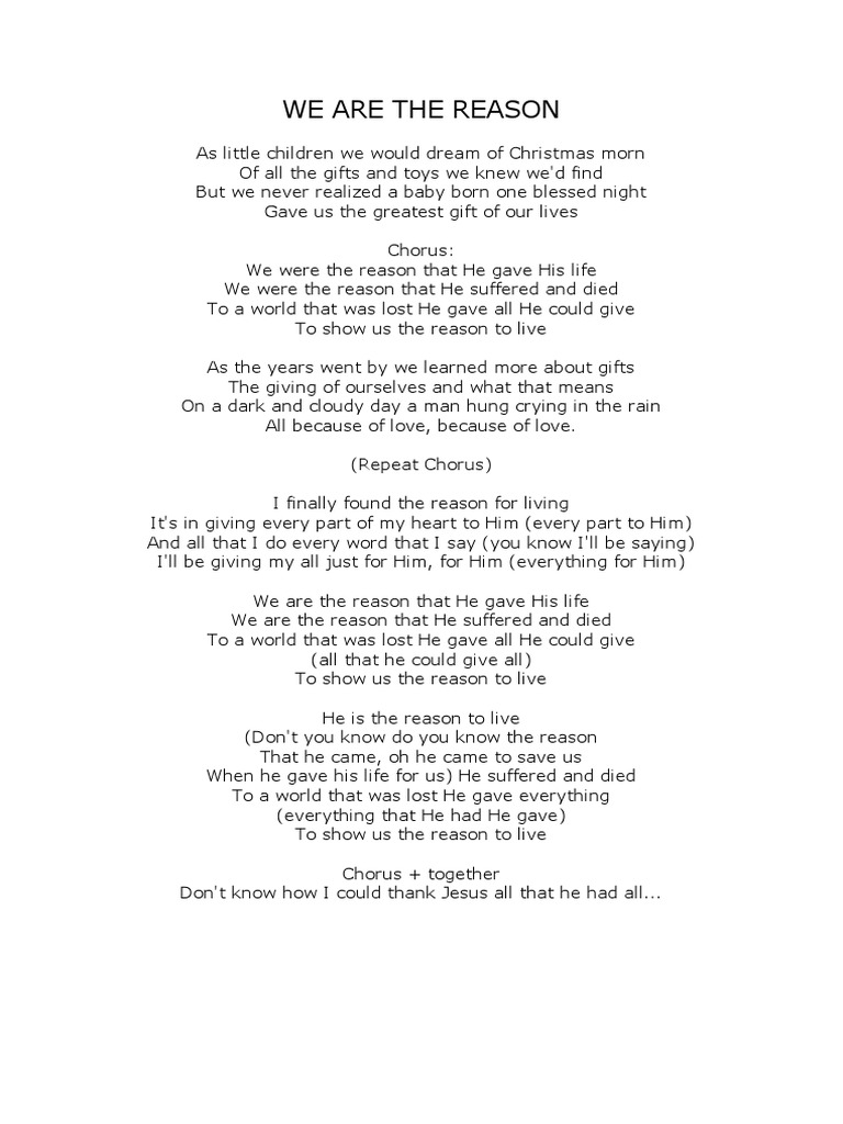 Lyrics We Are The Reason