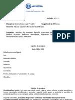 Direito Processual Penal II - 4 Sujeitos Processuais