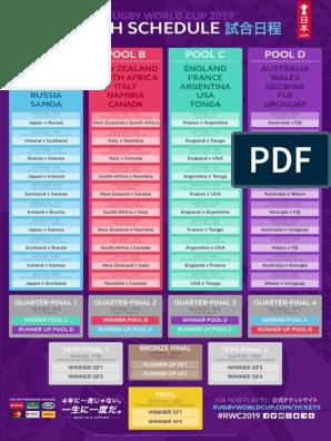 Calendrier Semi.Calendrier Rwc2019 Rugby Union Teams Football Codes