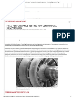 Field Performance Testing for Centrifugal Compressors
