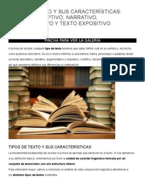 Tipos De Texto Y Sus Características Docx Subjetividad