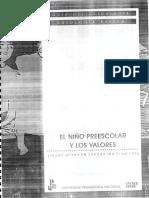 EL NIÑO PREESCOLAR Y LOS VALORES. A NI O TT t) G t A B A,S C A G U D E L E S T U D «SEA_. y, I UNIVERSIDAD PEDAGÓGICA NACIONAL (1).pdf