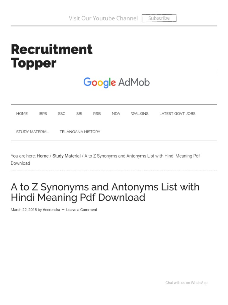 A to Z Synonyms and Antonyms List with Hindi Meaning Pdf