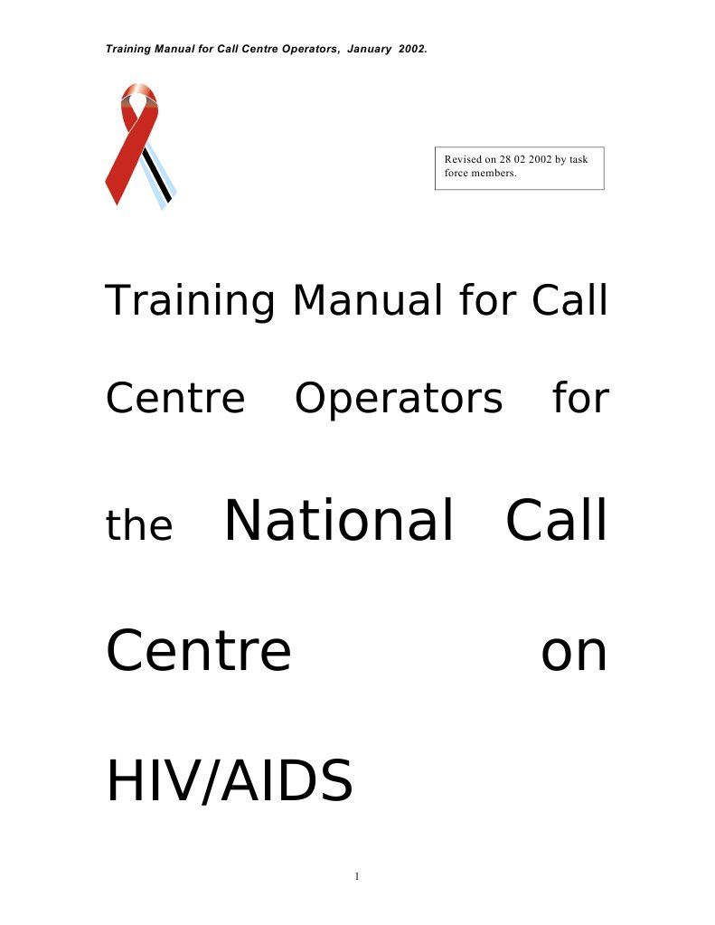 Ipoletse Call Centre Manual 28 2 Version[1] | Management Of Hiv/Aids |  Hiv/Aids