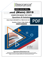 JEE Main 2019 Chemistry April Attempt Shift - 1(08th April, 2019)