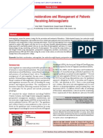 Perioperative Considerations and Management of Patients Receiving Anticoagulants