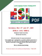 English as a Second Language Teacher Training 2019