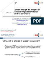 Speech recognition through the analysis of spoken syllables using autocorrelation function parameters