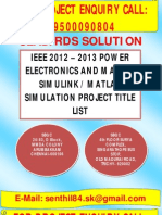 IEEE 2012 Matlab Simulink Power Electronics Projects (Hosur, BanGalore, Mysore, ManGalore, Karnataka)