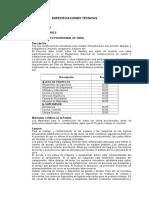 Especificaciones Técnicas VICOS001