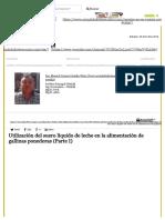 Actualidad Avipecuaria Utilización Del Suero Líquido de Leche en La Alimentación de Gallinas Ponedoras (Parte I)
