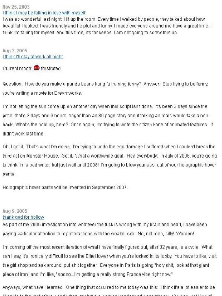 Dan Harmon S Myspace Pdf Feeling Salad