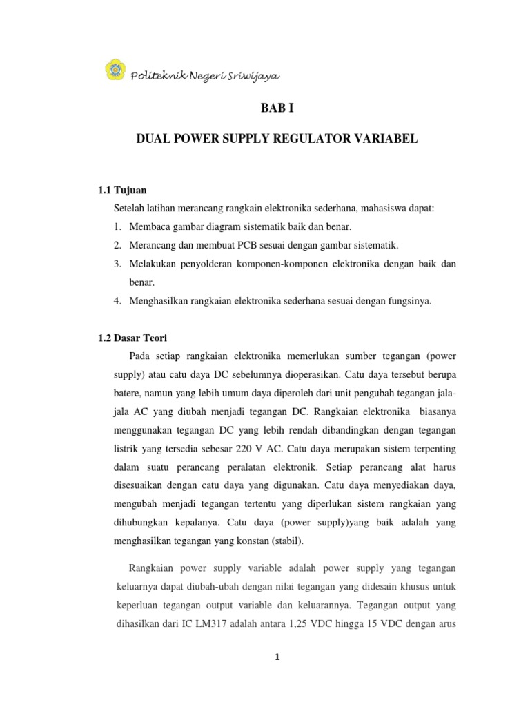 Laporan Dual Power Supply Variable