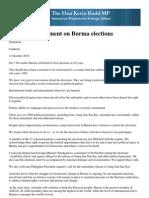 Statement on Burma Elections eng. FM Rudd