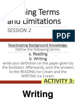 Sesssion 2 Define Reading and Writing