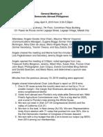 Democrats Abroad Philippines General Meeting April 6, 2019 Minutes