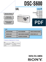 SONY DSC-S600 SERVICE MANUAL LEVEL 2 VER 1.2 2007.10 (9-876-922-33)