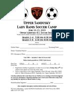 Upper Sandusky Girls Soccer Camp 2019