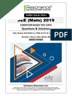JEE Main 2019 Physics April Attempt Shift - 1(09th April, 2019)