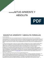 Magnitud Aparente y Absoluta Formulas