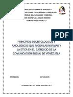 Principios Axiologicos y Deontologicos Del Periodismo Venezolano