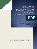 Indices de Delitos y Faltas Al Bando 2010 a Julio 2011 Municipio de Ahome