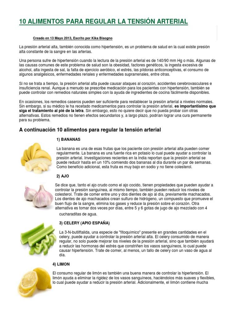 alimentos para hipertensión arterial