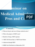 Seminar on Medical Admissions Pros Ans Cons