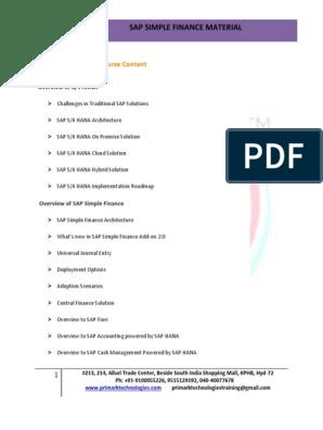 SAP_Simple_Finance_Material_Primark_Infotech PDF | Sap Se