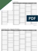 Calendario 2019 Semestral Blanco