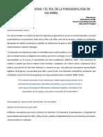 Educación Inclusiva y El Rol de La Fonoaudiología