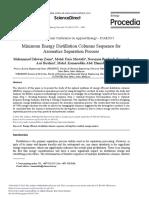 Minimum Energy Distillation Columns Sequence for A