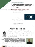 Kaltieninen, 2016 -Dynamic Interplay Bw Merger Process Justice & Cognitive Trust
