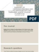 Summary of Journal Issues in ELT