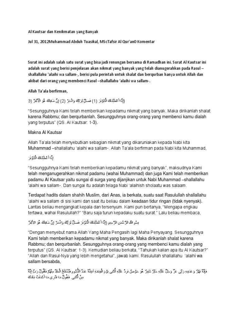 Al Kautsar Dan Kenikmatan Yang Banyakdocx