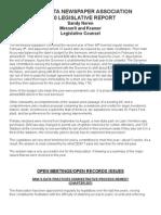 MINNESOTA NEWSPAPER ASSOCIATION 2010 Legislative Report