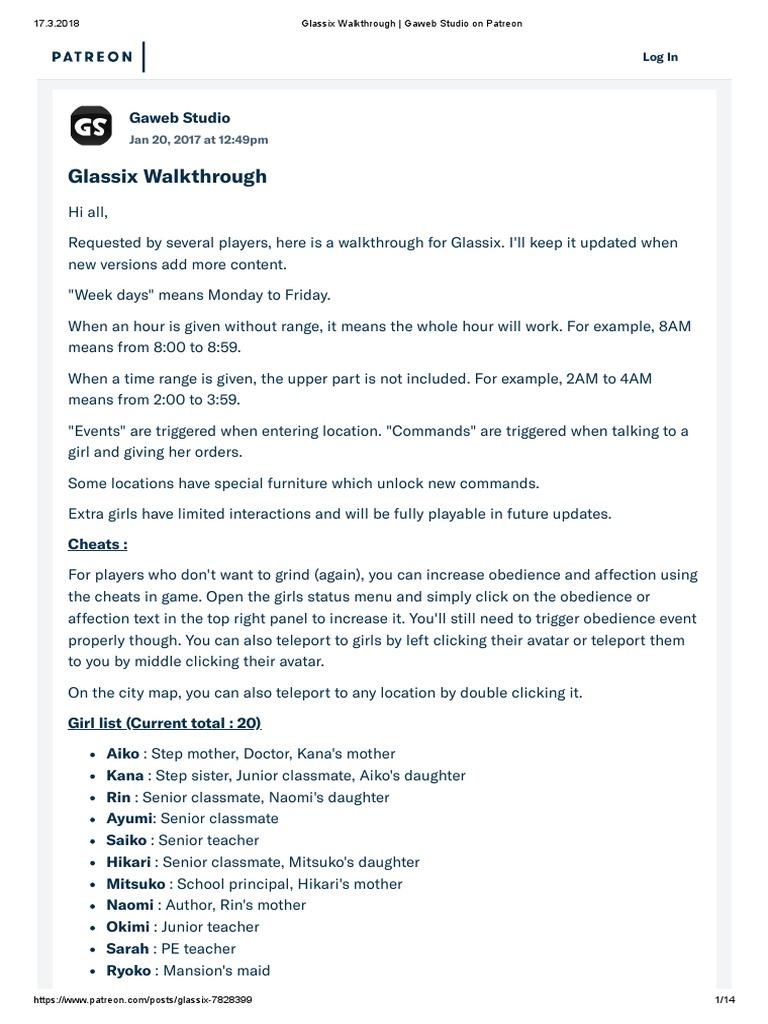 100682 Glassix Walkthrough Gaweb Studio on Patreon1   Home ...