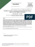 Durability of Mortars Containing Ground Granulated Blast-furnace