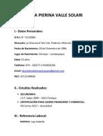 Francesca Pierina Valle Solari (Curriculum)