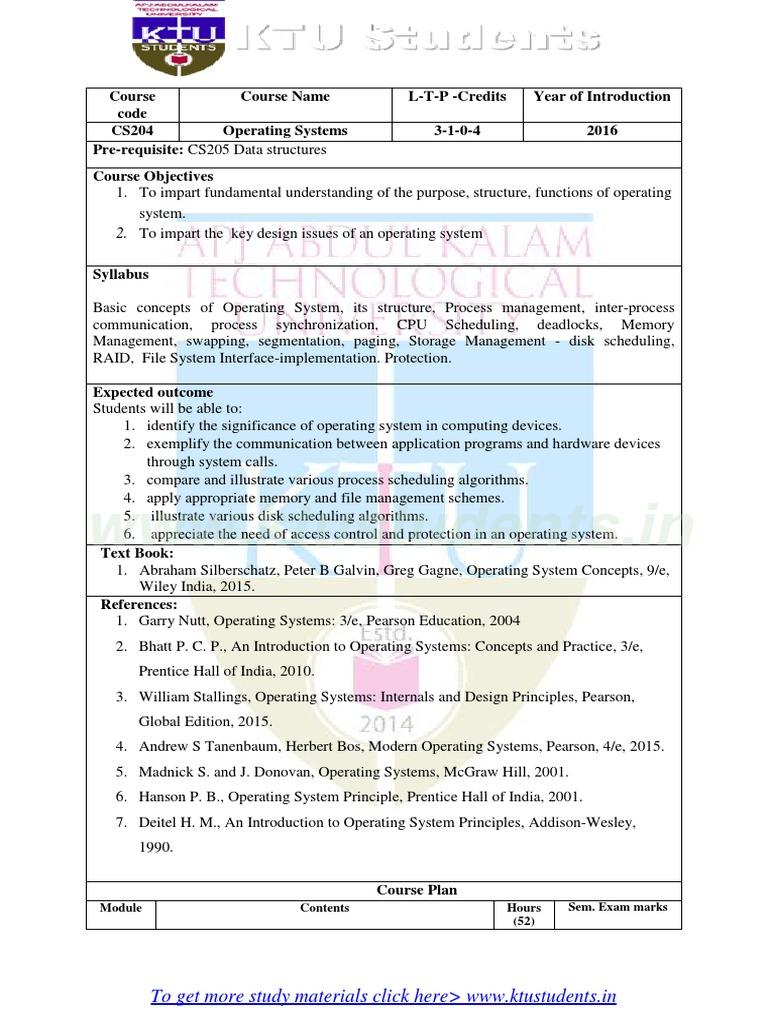 OS SYLLABUS pdf   Scheduling (Computing)   Operating System