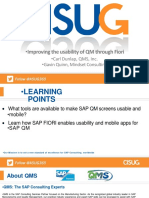Improving the Usability of QM Through Fiori and Personas
