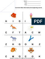 Beginning Sounds h i f w g z c and o