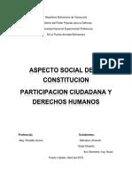 ASPECTO SOCIAL DE LA CONSTITUCION PARTICIPACION CIUDADANA Y DERECHOS HUMANOS